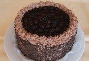 Csokoládés szedrescsók torta  (kakaós piskótaalap csokoládékrémmel töltve, szederrel, gyümölcszselé