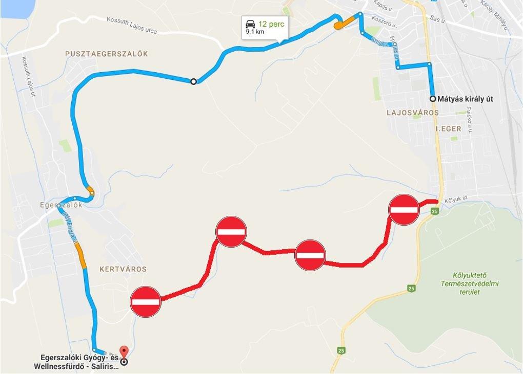 javasolt útvonal tilos és piros