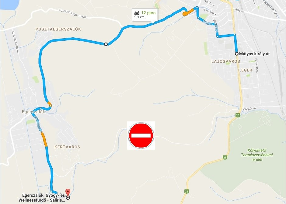 javasolt útvonal tilos