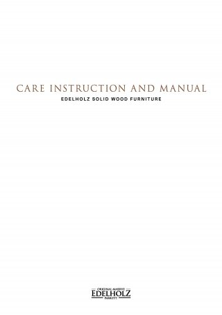 EDELHOLZ Care Instruction and Manual Furniture