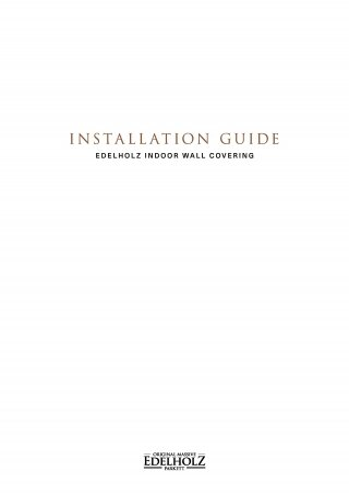EDELHOLZ Installation Guide Wall Covering