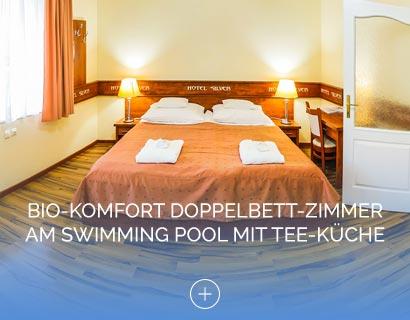 Bio-Komfort Doppelbett-Zimmer am Swimming Pool mit Tee-Küche