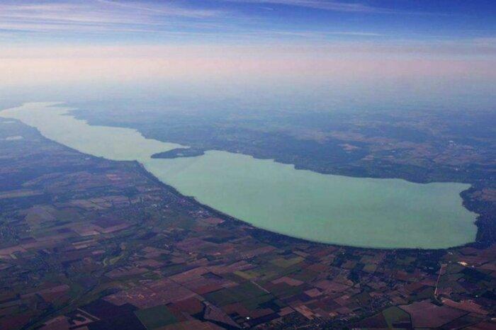 Walking flight over Lake Balaton