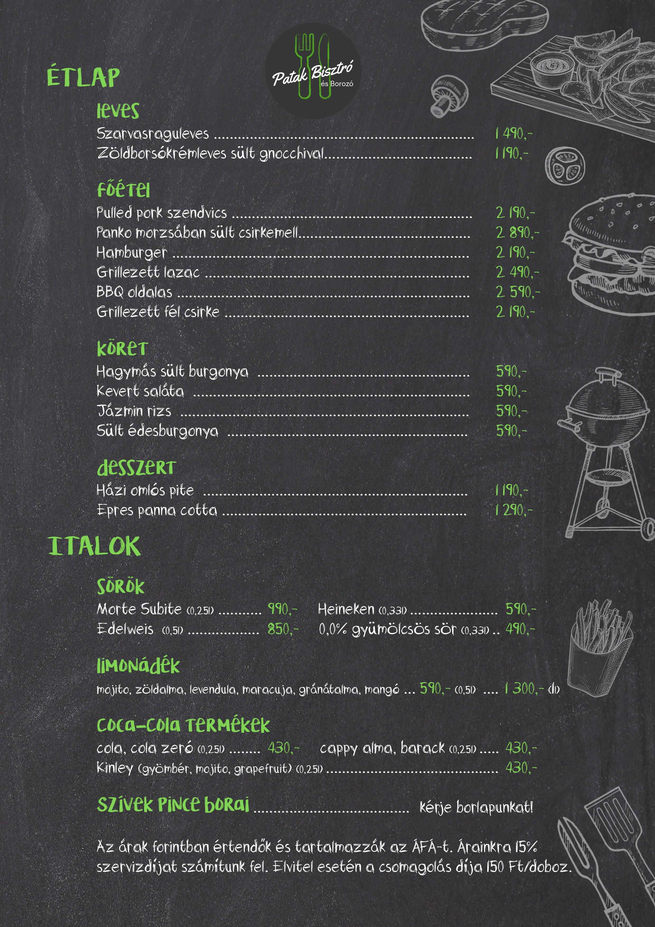A visegrádi Patak Vendéglő 2021-es grill étlapja